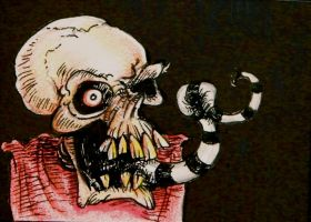 Striped tongue skull ACEO sketch card by thebigduluth