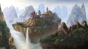 Floating Temple Sanctuary Buildings by JaikArt