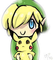 Toon Link and Pikachu by Itachifan137