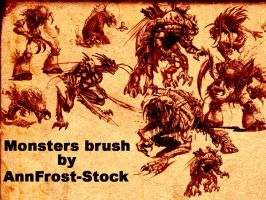 Monsters brush set by AnnFrost-stock