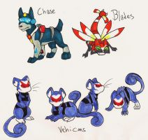pokeformers: blades, chase, vehicons by glowyrm