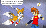 Tails Vs. Chris by Waffle-the-kitten