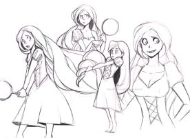 Tangled: Rapunzel sketches by Do0dlebugdebz