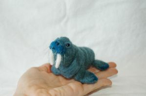 Needle felted rare blue walrus by amber-rose-creations