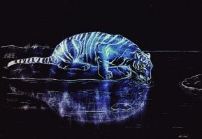 Drinking Tiger 3 - Glowing In The Night by DejfTheLittleTiger