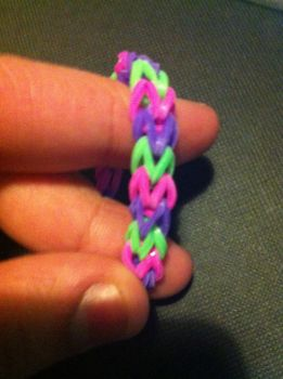 Purple, pink and green loom bracelet by mket98