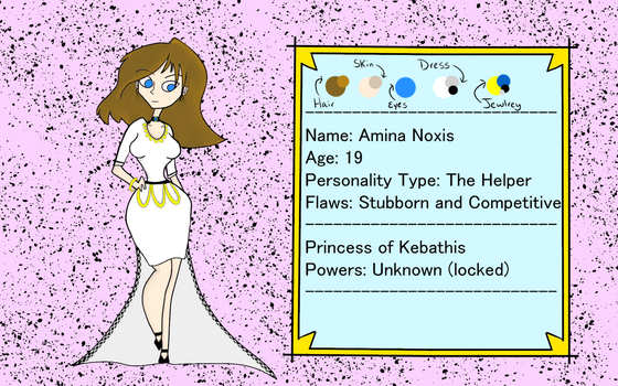 Amina Noxis Character Sheet (Castle Dress) by Accio-Geekology