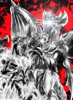 Godzilla vs Destroyah Art Trade (B and W) by JetZero
