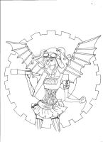 steam punk LINEART by greentomatoes