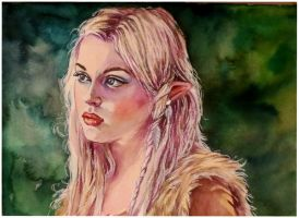 Blonde elf..watercolour by xxaihxx