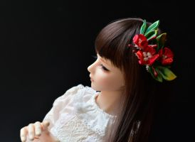 BJD Kanzashi. Red Holly for the winter season. by hanatsukuri