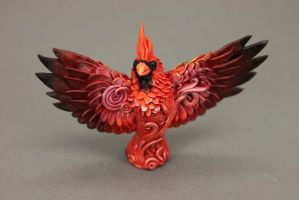 Red cardinal bird totem by hontor