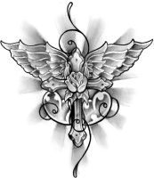 Winged cross tattoo design by thirteen7s