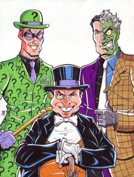 Riddler, Penguin and Two Face commission by calslayton