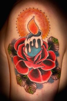Candle Rose Tattoo by xLennyx