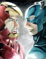 Iron Man and Captain America by zer03908
