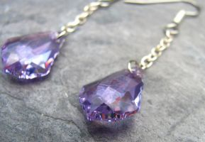 Violet Crystal Dangle Earrings by lauriescustomcreate
