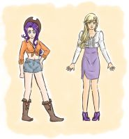 switched clothes - Rarity and Applejack by MyLittleNiobeh