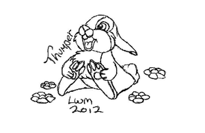 Thumper line art by littlewolfmoccasin