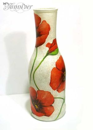 Decoupage Vase - Poppy by yanniver