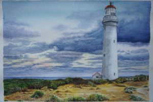 cape nelson lighthouse watercolour (better photo) by callum-ogborn
