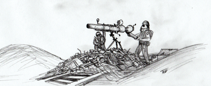 Wasteland recoilless rifle crew concept by Stingray-24