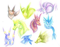 Sketch Dump - Eeveelutions by InfernoKat