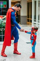 Superman Shakes Spiderman's Hand Cosplay by PhoenixForce85