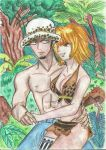 Trafalgar Law and Margaret in Nyoga Island by windscarlett