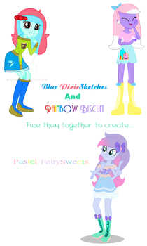 Rainbow Biscuit and Blue PixieSketches Fusion by MidnightDaydreamStar