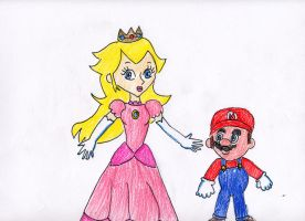 Princess Peach and Mario by VioletAnne9