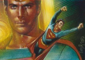 Christopher Reeve as Superman, Double Sketch Card by JeffLafferty