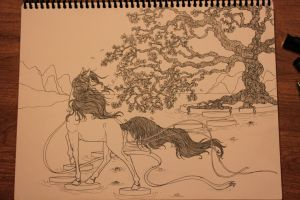 Horse and Tree [WIP] by WhyteHawke