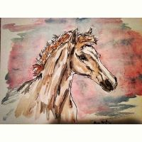 Foal Watercolor by chocobokupo