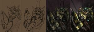 queen bee painting process by 14-bis