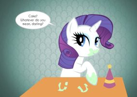 Kitty Birthday Card: Rarity and Cake by CaptainUnobservant