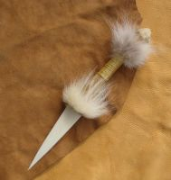 Wolf bone + fur knife 2 by lupagreenwolf