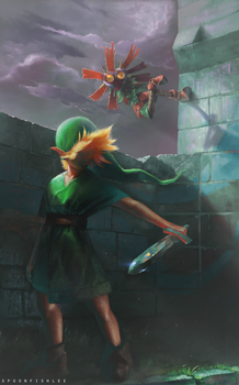 Link and Skullkid by SpoonfishLee