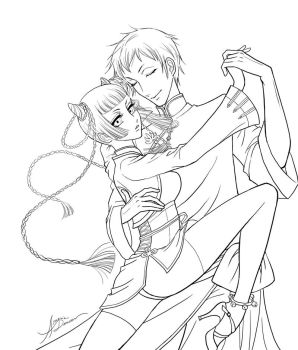 Ranmao and Lau - lineart by aruarian-dancer