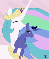 Celestia Carrying Luna by Sanguiniuschan