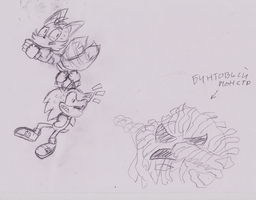 Sonic and Tails escape of Bint-Monster! by Slava13