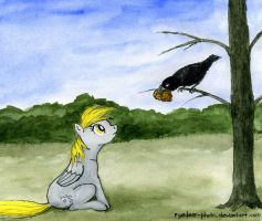 Derpy and the crow by el-yeguero