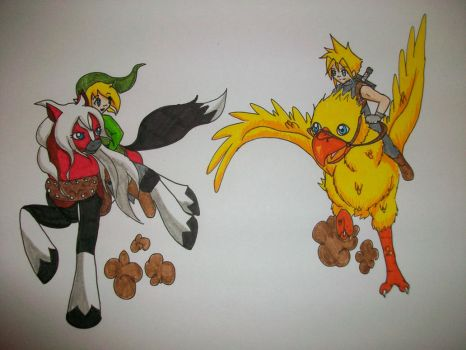 MLP Epona and Link Versus Cloud on a Chocobo by Zalia13