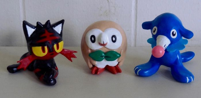 Pokemon SUN MOON CLAY Starters by HeyLookASign