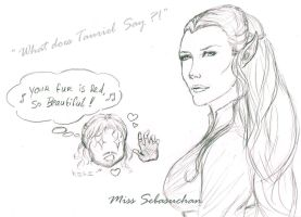 Sketch - What does Tauriel  say ?! by MissSebasuchan