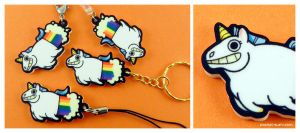 Rainbow-Farting Unicorn Acrylic Charm by pocket-sushi