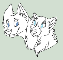 FREE MS Paint Canine Couple Lineart by WolfPawdoptables