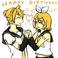 Happy Birthday Rin and Len~! :D by BlazingSapphireCat