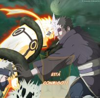 Naruto y Kakashi vs Obito MANGA 609 by seba1496
