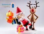 Rudolph does stumble a busy Santa Claus ! by kyomoncraft